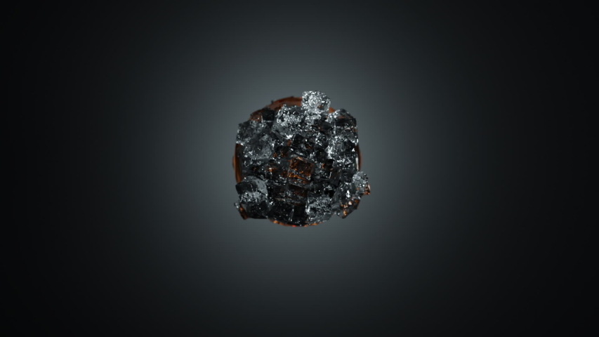 Abstract 3D animation of silver metal can with liquid soda water or cola and crystal ice cubes explosion. Fresh explosion of ice and liquid and can with water drops on surface. | Shutterstock HD Video #1045762177
