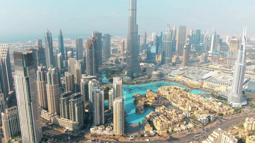 DUBAI, UNITED ARAB EMIRATES - DECEMBER 30, 2019. Aerial shot of Dubai Downtown and famous Dubai Mall
