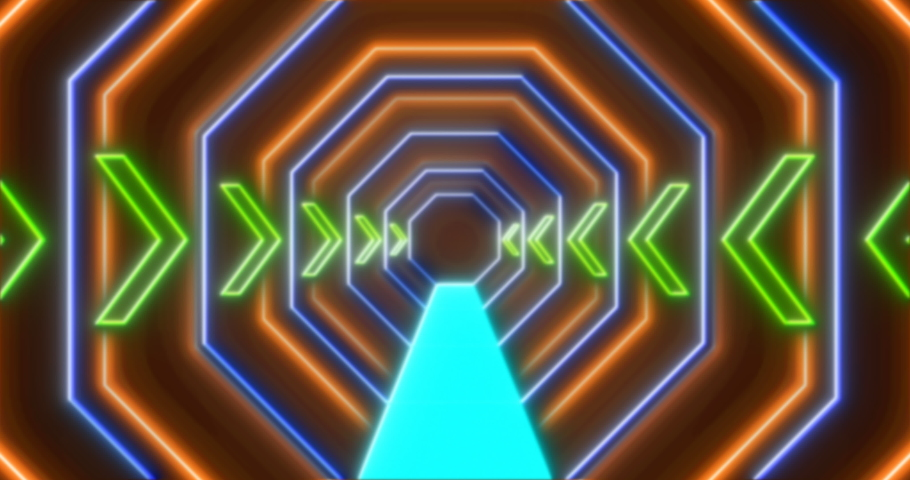 Abstract seamless loop orange blue and green neon VJ sci-fi futuristic tunnel with arrows in hexagon form. Glowing bright neon lines background. 4k endless VJ motion background | Shutterstock HD Video #1045785754