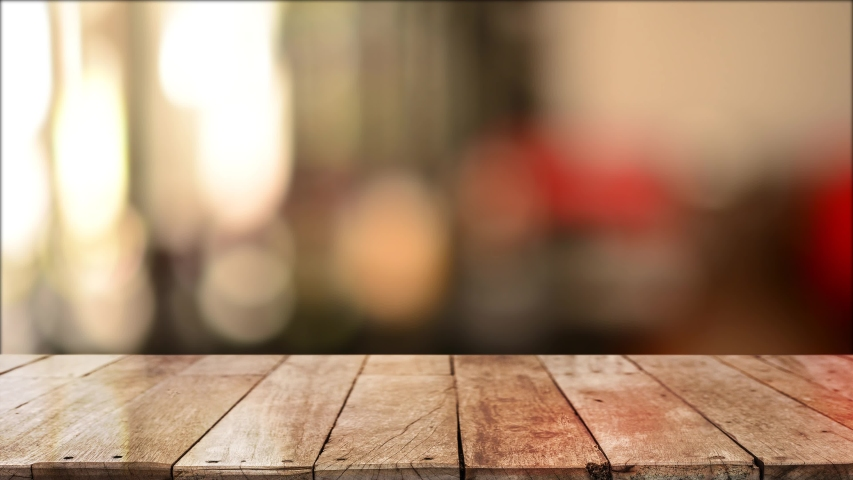 4K 3D Rendering, Wooden top table with bokeh light effect and blur restaurant on background, blur background | Shutterstock HD Video #1045794445