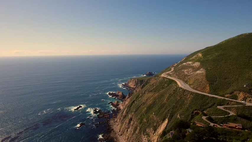 Aerial Video of Winding Roads on a Mountain Along Pacific Coast in Monterey