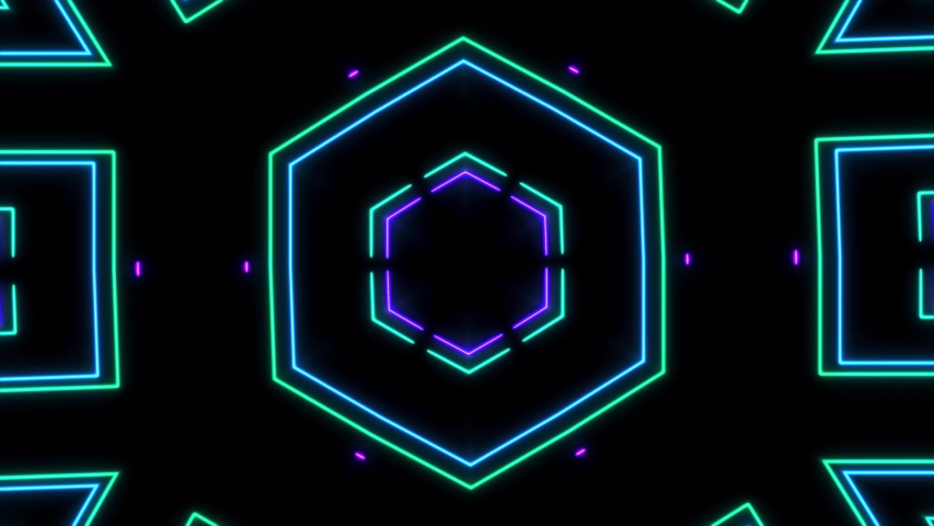 Abstract Light Neon Laser Show On Black Background #1045806094