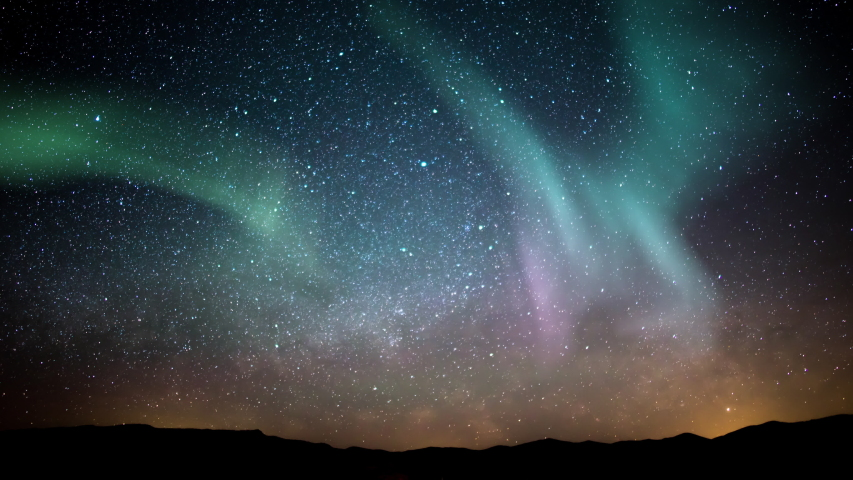 Aurora Borealis Milky Way Galaxy Rise Time Lapse Stars Over Mountains Simulated Northern Lights