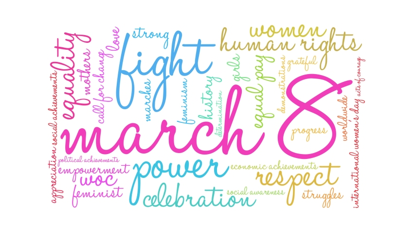 March 8 International Women's Day word cloud on a white background. Royalty-Free Stock Footage #1045856788