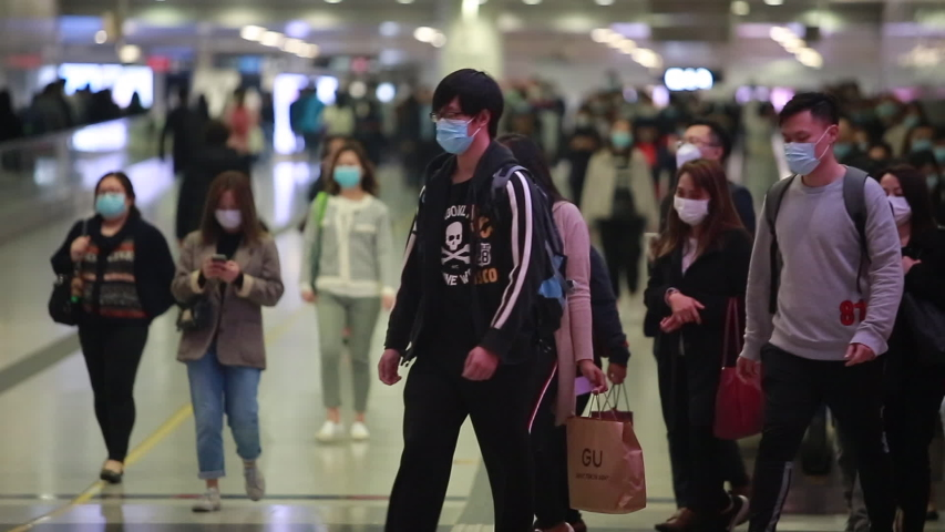 Hong Kong - 3 Feberary 2020: people wears mask after china confirm 302 death case in coronavirus outbreak. after wuhan coronavirus outbreak in china, mask supply are shortage in hong kong.