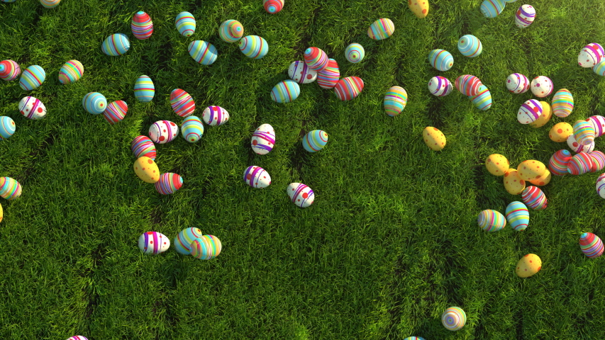 Easter eggs on the grass. Easter eggs slide down the slope covered with green cereal. Sunny positive climate. Beautiful surroundings and cheerful animation. Check out my channel, other easter videos.