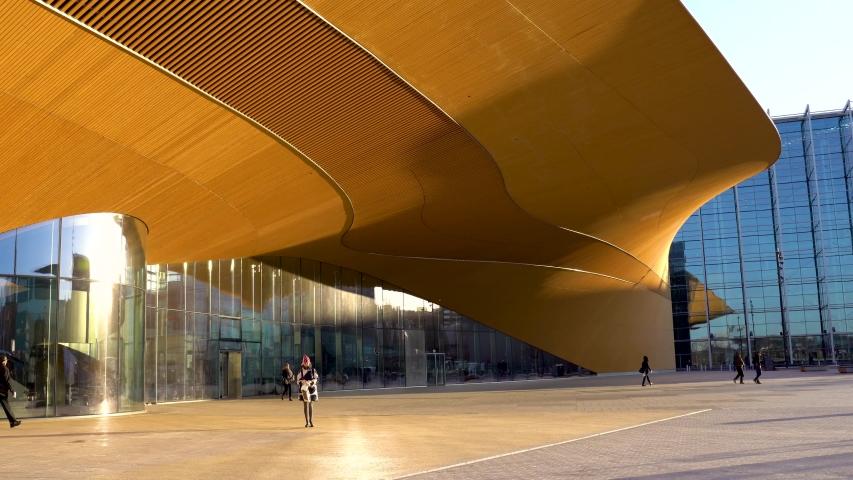 Finland, Helsinki - February 3rd 2020: Helsinki library called Oodi. Oodi is Helsinki's new Central Library.
