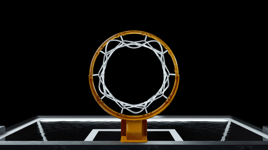 Basketball hit the basket in slow motion on a alpha channel Royalty-Free Stock Footage #1045908646