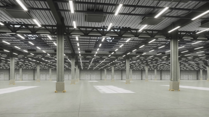 Camera move around empty warehouse hall and lights turning on. Dynamic camera pans empty industrial interior hall storage room with lights. Logistic distribution industrial interior room with gates. Royalty-Free Stock Footage #1045946218