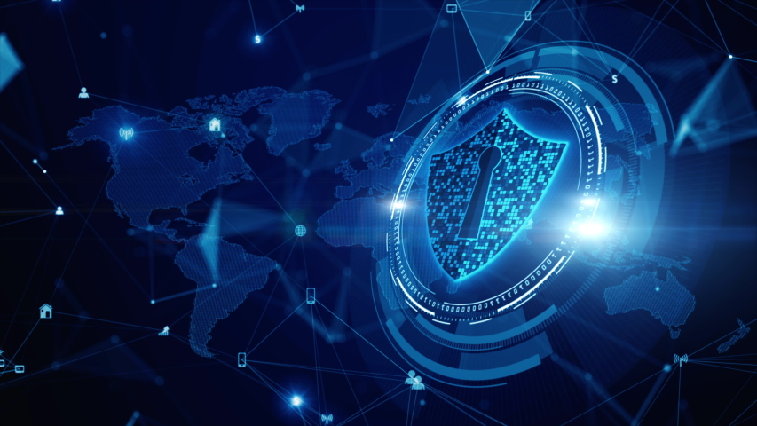 Shield Icon Cyber Security, Digital Data Network Protection, Future Technology Digital Data Network Connection Background Concept. Royalty-Free Stock Footage #1045950121