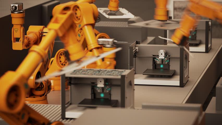 02287 Robotic Arm Assembling 3d Printer On Conveyor Belt | Shutterstock HD Video #10459535
