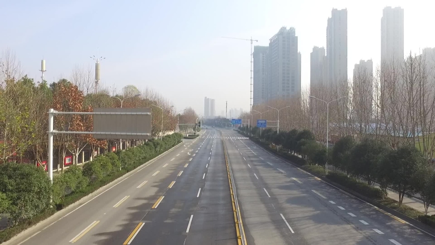 Wuhan, Hubei/China - January 27 2019: Aerial footage of an empty street in Wuhan
