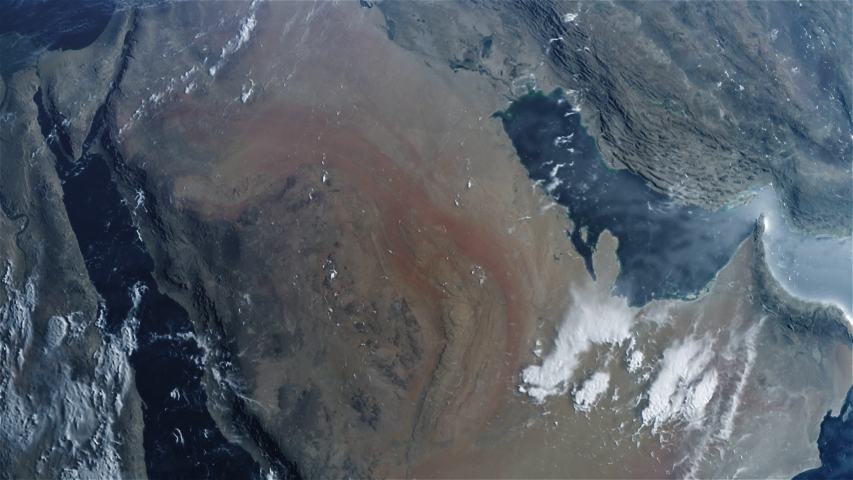 Cinematic Planet Earth Zoom out from The Kingdom of Saudi Arabia KSA ProRes 422 HQ