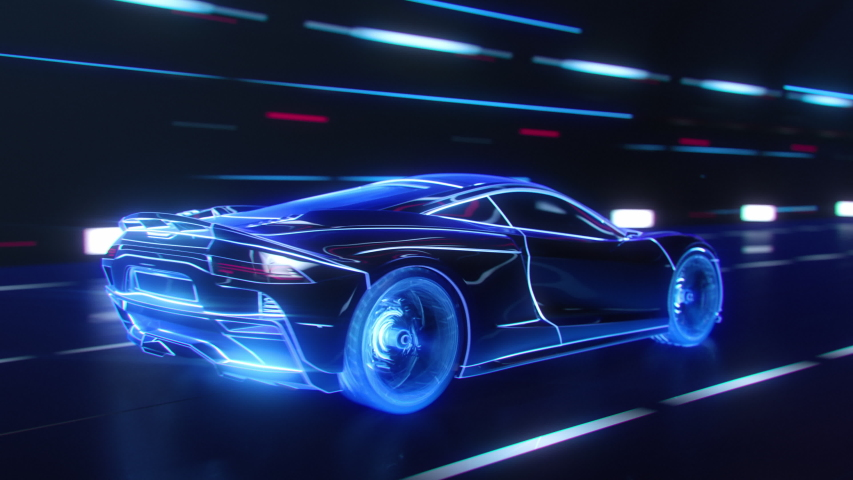 3D Car Model: Detailed Silhouette of Sports Car Driving at High Speed, Racing Through the Tunnel into the Light. Blue Supercar Made of Blue Lines Driving Fast on Highway in Tron Style. VFX Effects