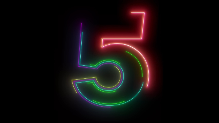 Animation background with neon light number 5. Abstract background with letter number 5 neon light animation.