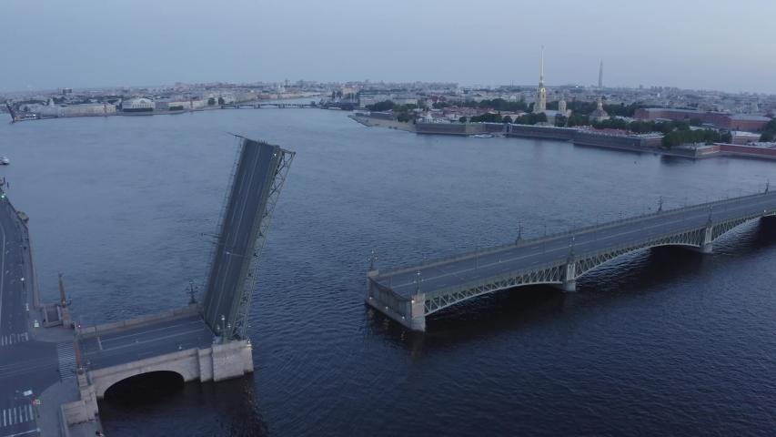 Part of the raised bridge in the city of St. Petersburg | Shutterstock HD Video #1046010313