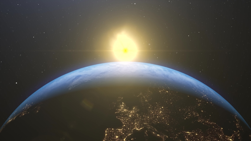 Stock video   4k Beautiful sunrise world skyline. Planet earth from space. Planet earth rotating animation. Clip contains space, planet, galaxy, stars, cosmos, sea, earth, sunset, globe.  | Shutterstock HD Video #1046019334
