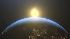 Stock video4k Beautiful sunrise world skyline. Planet earth from space. Planet earth rotating animation. Clip contains space, planet, galaxy, stars, cosmos, sea, earth, sunset, globe.