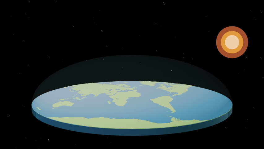Flat earth with with oceans and continents under a transparent cupola and abstract sun. | Shutterstock HD Video #1046022235