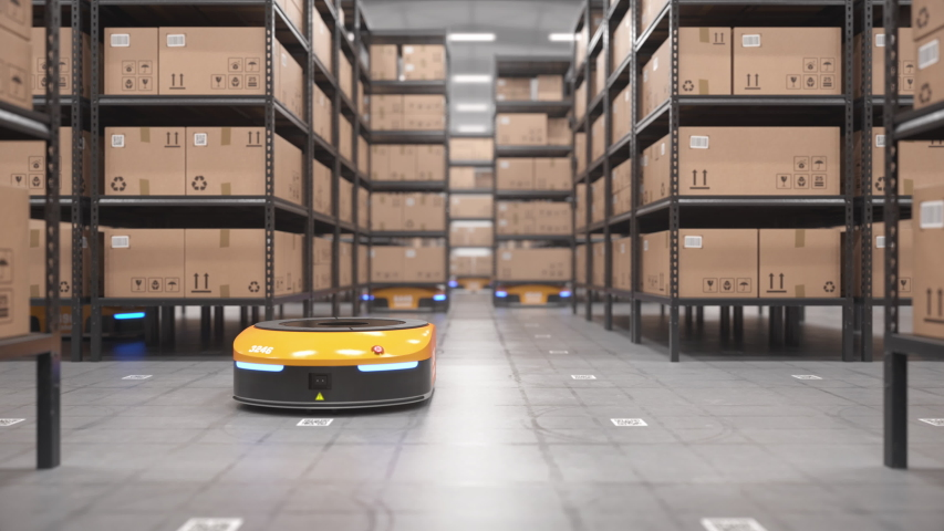 Autonomous robots moving shelves with cardboard boxes in automated warehouse. Seamless looping POV shot. Automated warehouse of the future concept. Realistic high quality 3d rendering animation.