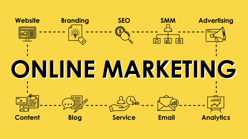 Online Marketing footage for websites and social media. Business design: SEO, Advertising, Content, Blog, Email, Branding, Analytics. Infographic animation on yellow background. 4K (3840x2160) footage Royalty-Free Stock Footage #1046031397