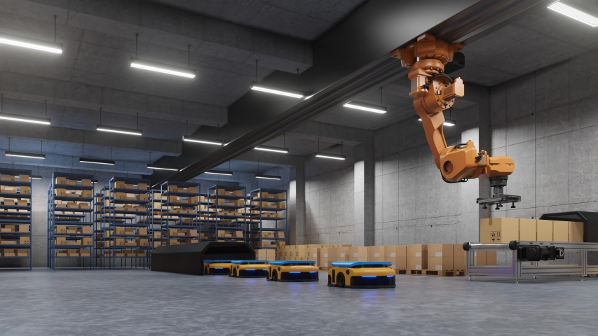 Robotic arm for packing with producing and maintaining logistics systems using Automated Guided Vehicle (AGV),3d rendering Royalty-Free Stock Footage #1046059201