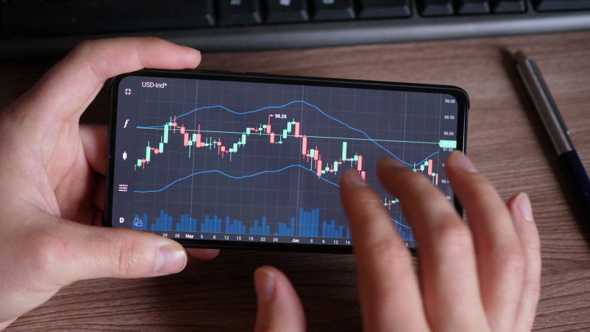 Stock Exchange, Trading Online, Trader Working With Smartphone on Stock Market Trading Floor. Man Touch Screen Reading Financial News, Browse Foreign Exchange Market Data, Chart Forex. Crypto currency Royalty-Free Stock Footage #1046067601