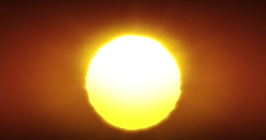 Beautiful Clear Big Sunrise (Sunset) Close-up Looped Animation. Big Red Hot Sun in Warm Air Distortion Above Horizon Seamless. 4k Ultra HD 4096x2160.