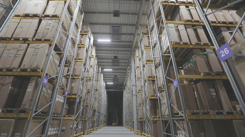 Turning off the lights in the warehouse. End of the day, turning off lighting in a large warehouse Royalty-Free Stock Footage #1046092408