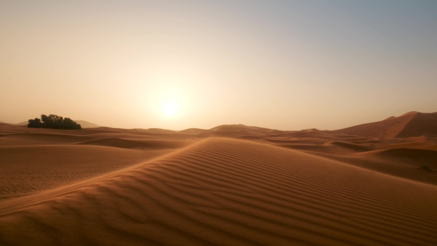 Golden sand close up Sahara desert. Sunset. Sand dunes and blue sky. Beautiful desert landscape. Sahara desert 4k. Sand dunes Arabian desert. Sand dunes wave pattern. Nature background, morocco   Shutterstock HD Video #1046097187