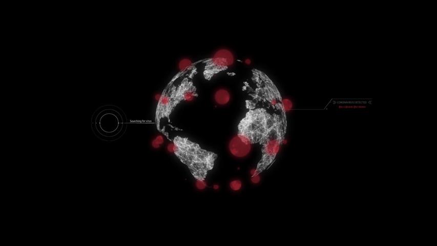 Coronavirus 2019-nCov novel coronavirus concept. Earth globe being covered by viruses. Satelite searching for virus, coronavirus discovered | Shutterstock HD Video #1046104780
