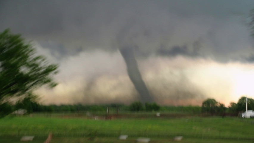 Wynnewood, OK / USA - May 9, 2016: Powerful EF4 Tornado at Close Range