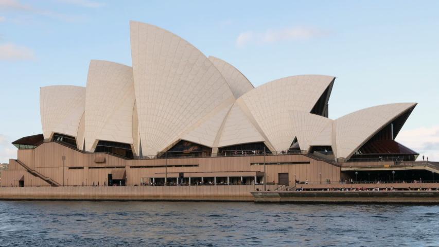 SYDNEY, AUSTRALIA - CIRCA FEB 2019. Sydney Opera House view of famous landmark and tourist destination seen from Sydney Harbour, NSW, Australia, Circa Feb 2019 in Sydney.