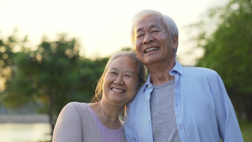 Loving old asian couple walking talking outdoors in park | Shutterstock HD Video #1046166064