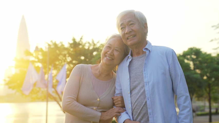 Loving old asian couple walking talking outdoors in park