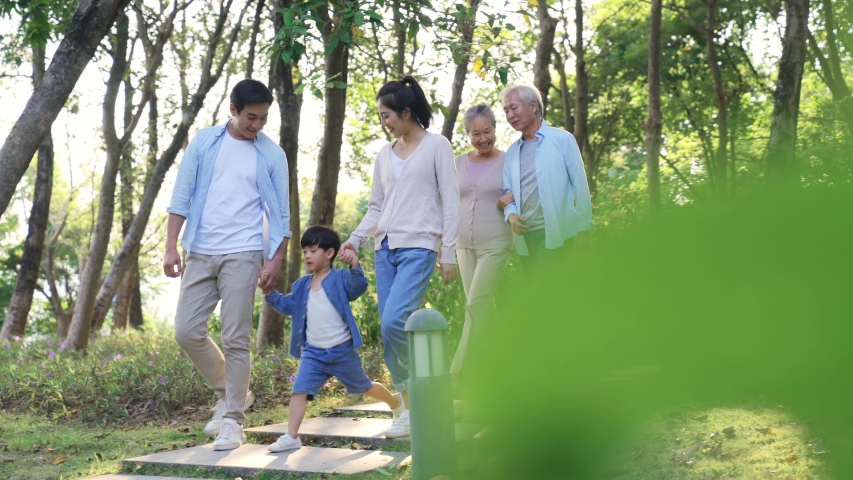 Three generation family walking relaxing in park