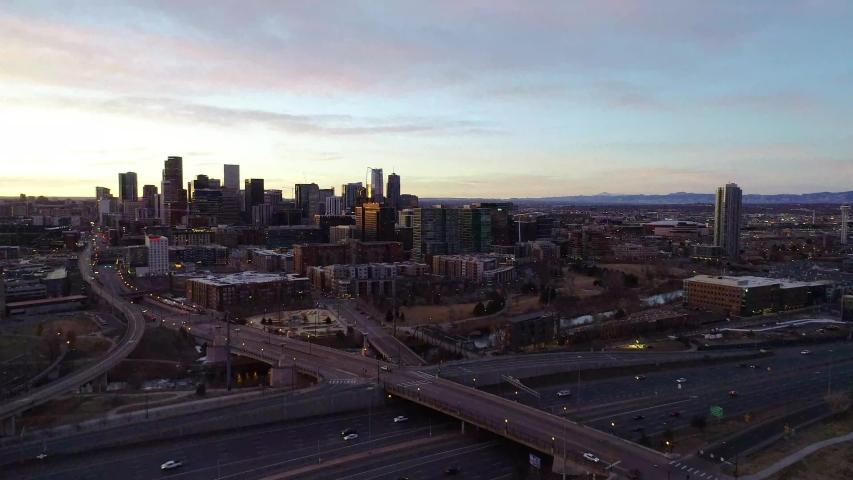 Downtown Denver, Colorado, USA Drone Aerial Downtown Skyline