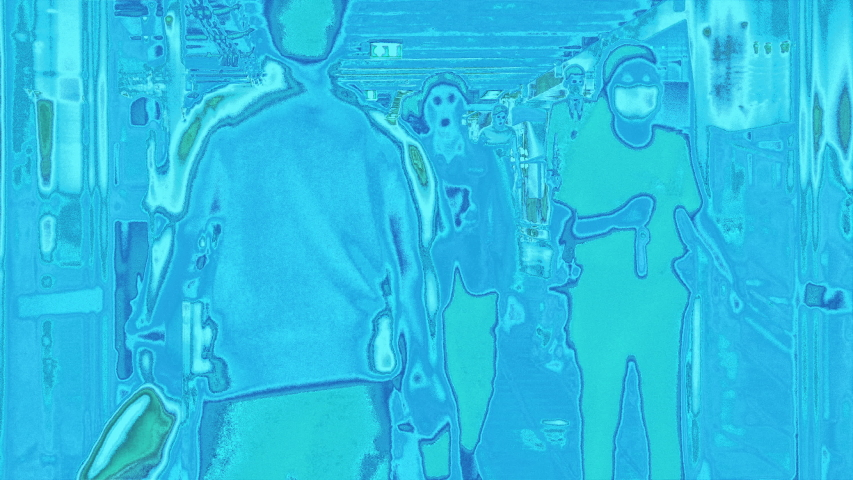 Thermal imaging simulation scanning body heat signature of arriving passengers for potential virus carrier at a busy airport terminal