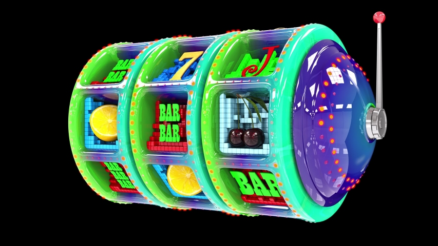 Glossy multi-colored slot machine hitting a 777 jackpot and exploding golden coins. UHD - 4K - 3D Rendering