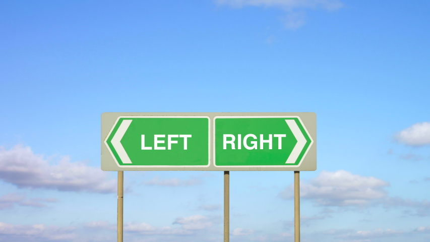 A choice of Left or Right. Signs pointing in opposite directions to the left or right. | Shutterstock HD Video #1046254591