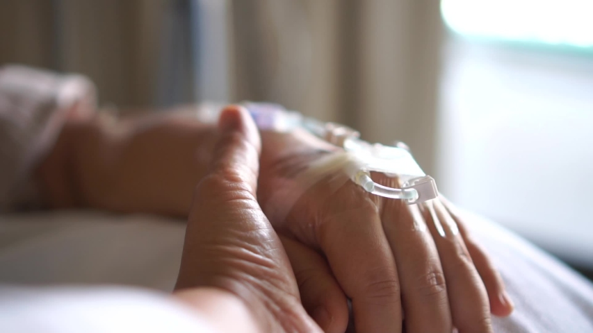 Hopeful love care emotional concept, Couple women hold hands lover that sick lying in Hospital bed for sleeping with love emotional, Encouragement comforting Recovering from family healthy slow motion