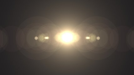 Symmetrical optical lens flares transition that is a seamless loop with natural lighting. 4K