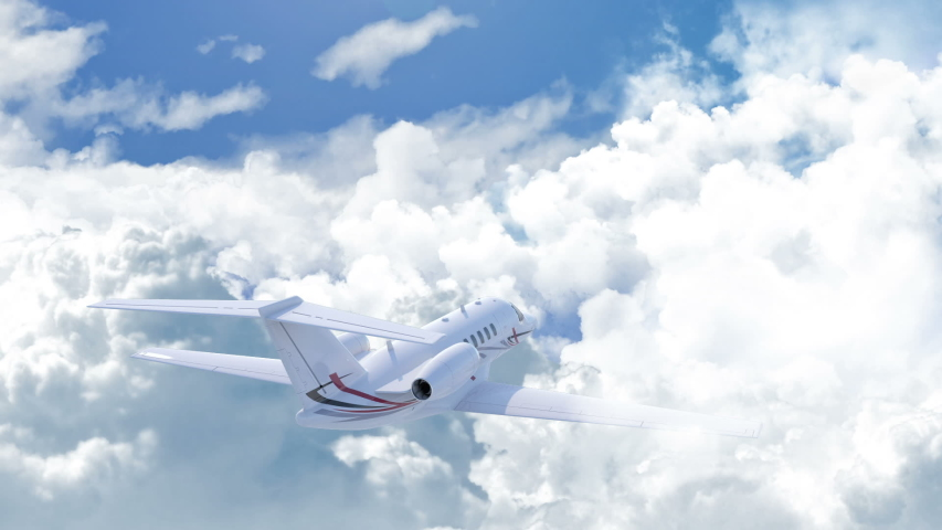Aerial view of charter private jet flying above white clouds in a clear sunny day, camera chasing the plane from the right back side, 3d render Royalty-Free Stock Footage #1046335024
