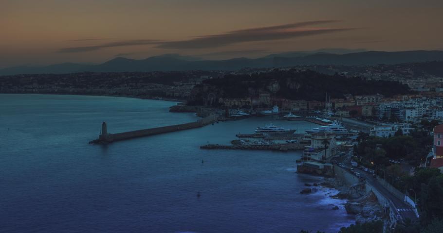 Sunrise timelapse of Nice city at dawn, France