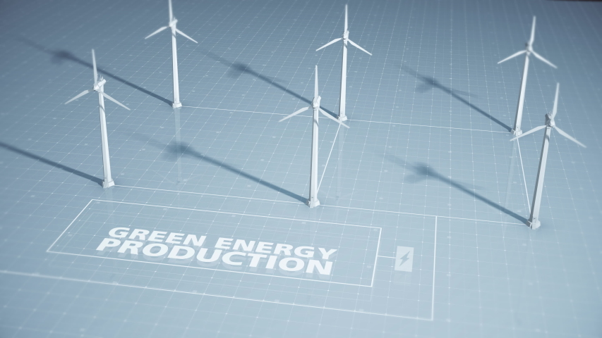 A group of wind turbines part of a wind farm or wind park create electricity and power contributing to a new form of green energy | Shutterstock HD Video #1046336680