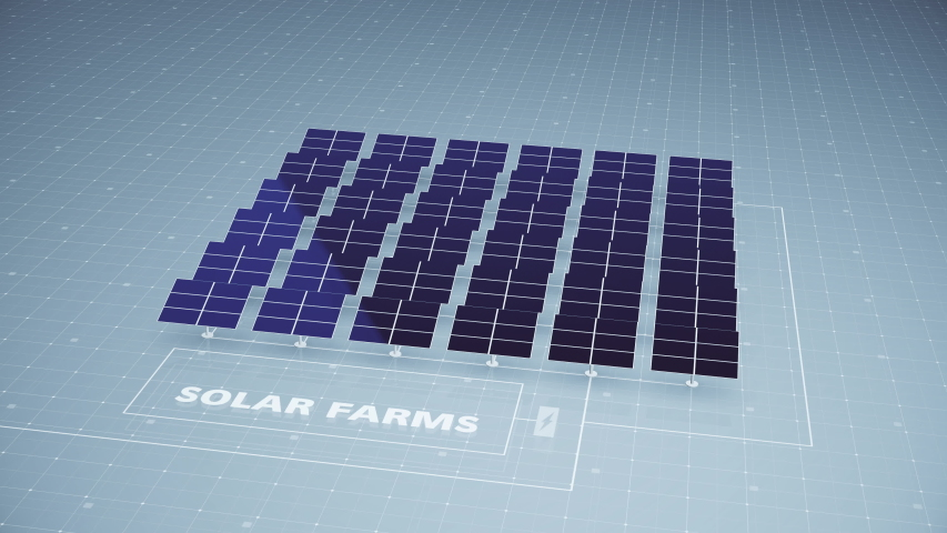An array of solar panels as part of a solar farm contribute to harnessing the sun's energy creating electricity and power contributing to green energy production