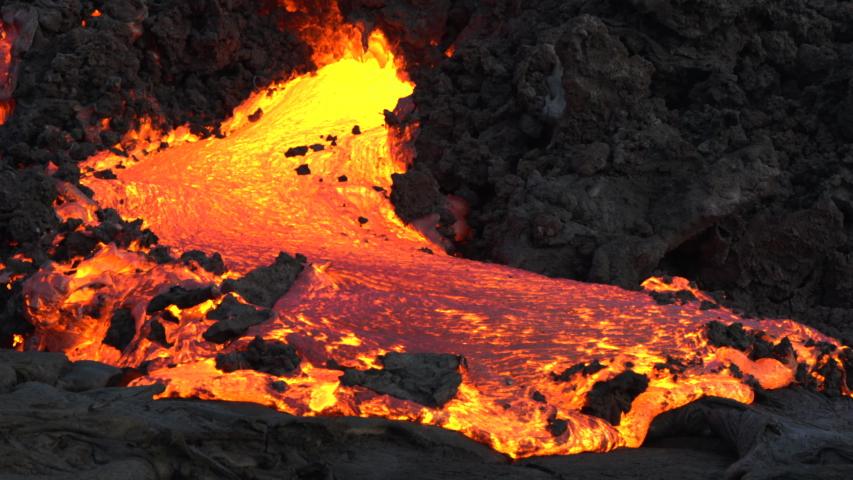 Lava flows on the big island in Hawaii.