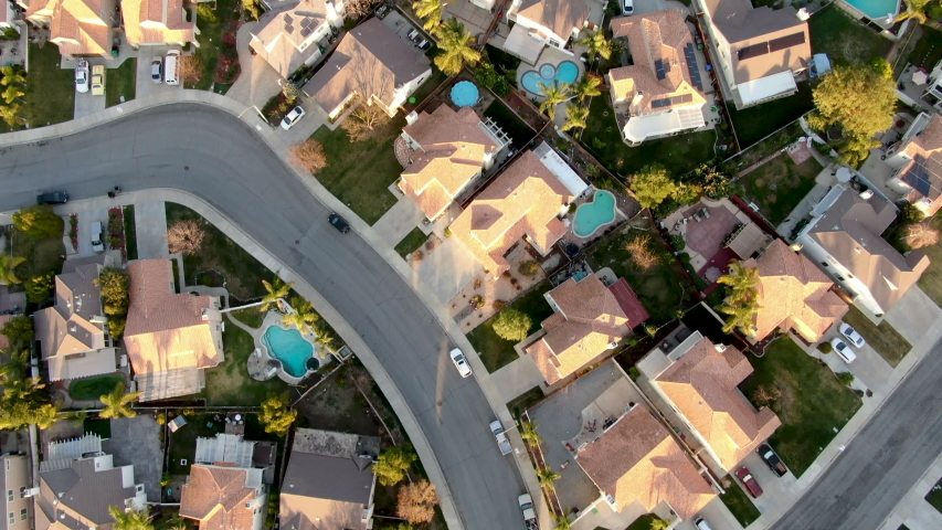 Aerial view of Menifee neighborhood, residential subdivision villa during sunset. Riverside County, California, United States Royalty-Free Stock Footage #1046363266