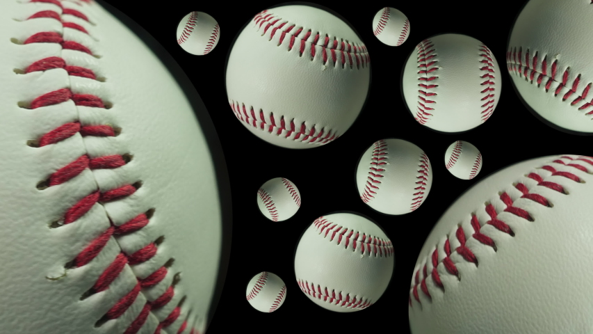 Baseball. Ball games and sport. Many spinning baseballs close up. | Shutterstock HD Video #1046386897