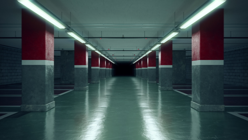 Walking through an empty underground parking garage.  industrial interior. Loopable 4K ProRes cinematic CG animation.
